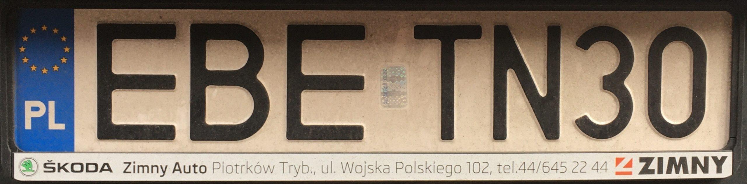 Registrační značka Polsko - EBE - Bełchatów, foto: www.podalnici.cz