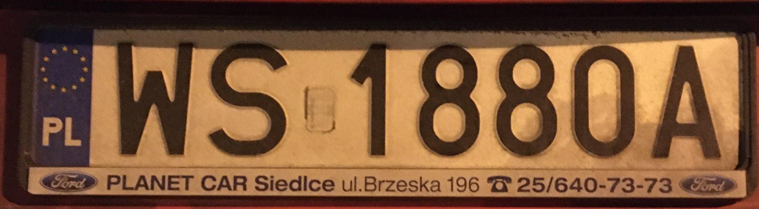 Registrační značka Polsko – WS - Siedlce, foto: www.podalnici.cz