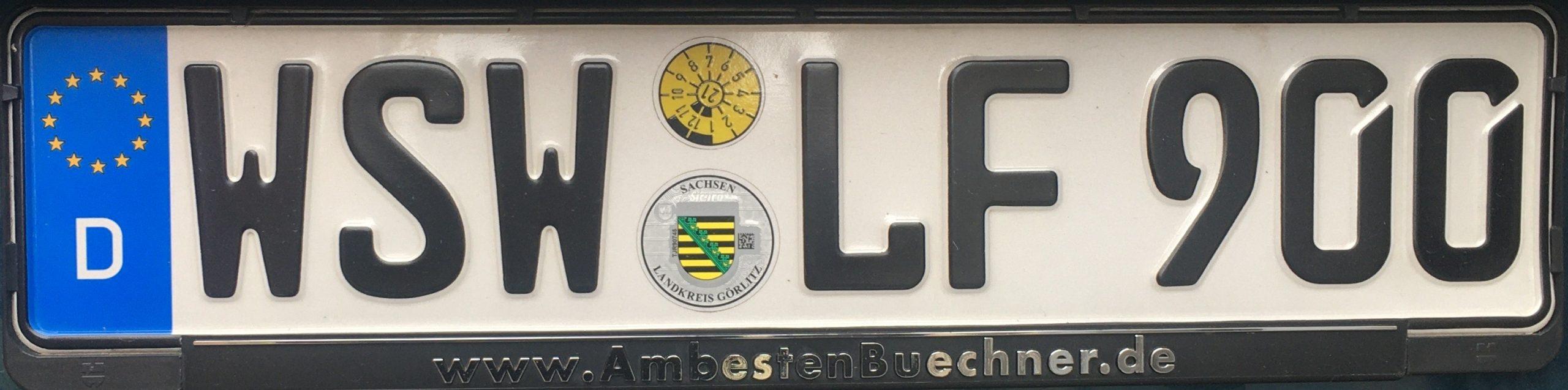 Registrační značky Německo – WSW - Weisswasser, foto: www.podalnici.cz