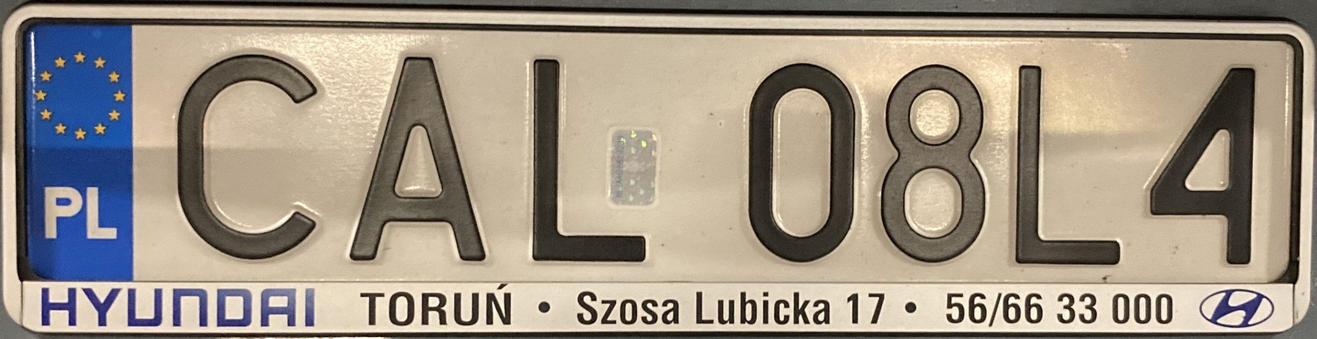 Registrační značka Polsko - CAL - Aleksandrów Kujawski, foto: www.podalnici.cz
