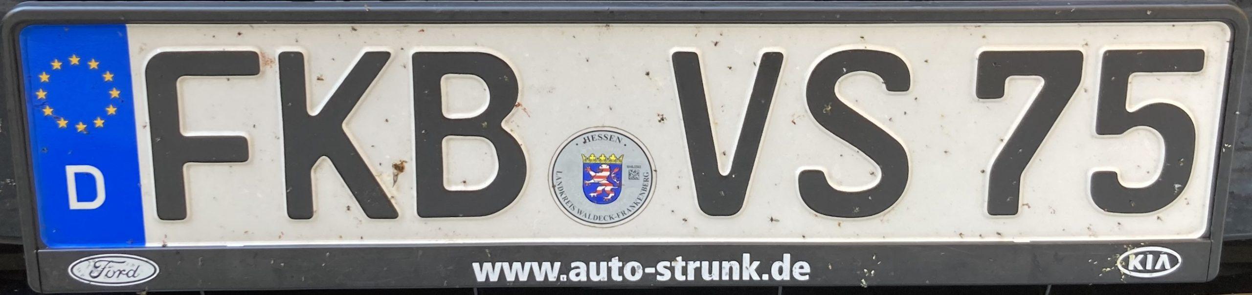 Registrační značky Německo - FKB - Frankenberg, foto: www.podalnici.cz