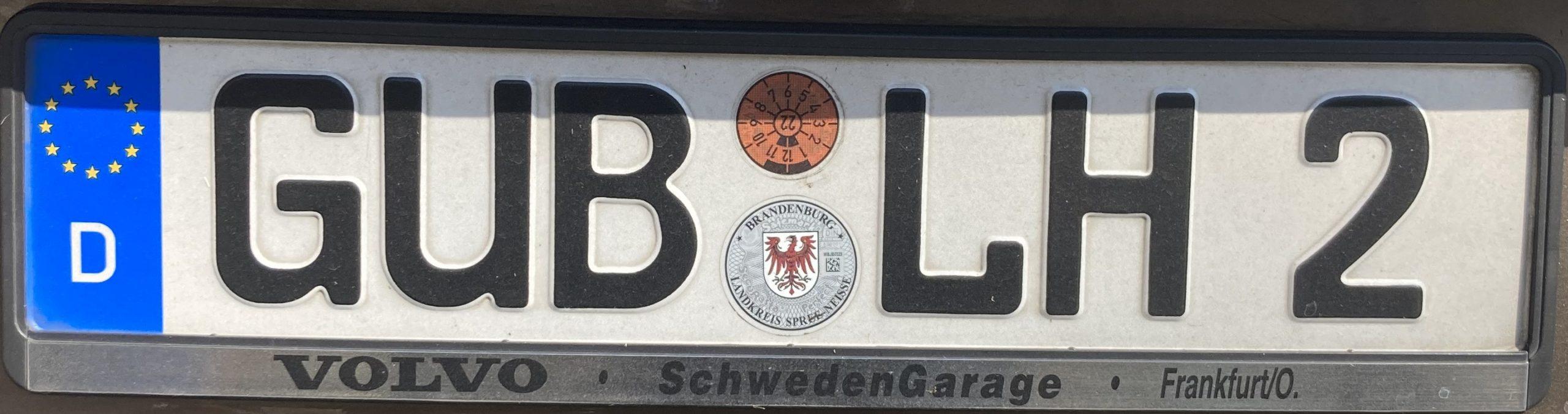 Registrační značky Německo - GUB - Guben, foto: www.podalnici.cz