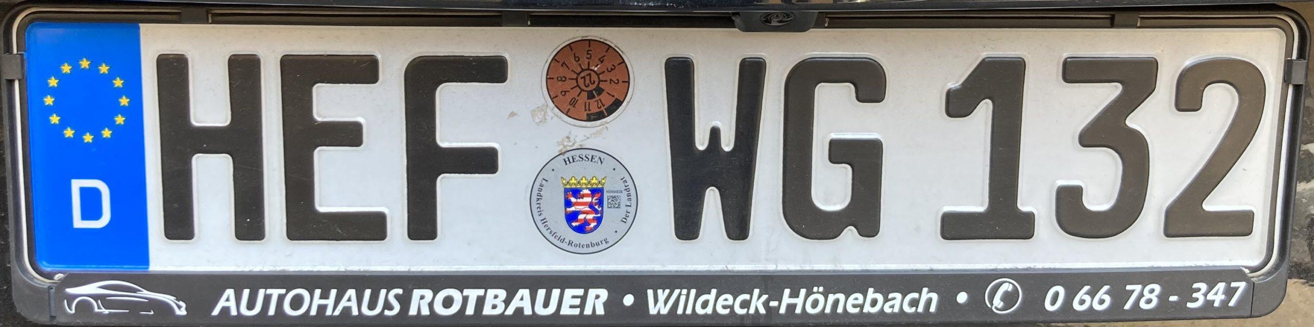 Registrační značky Německo - HEF - Hersfeld - Rotenburg, foto: www.podalnici.cz