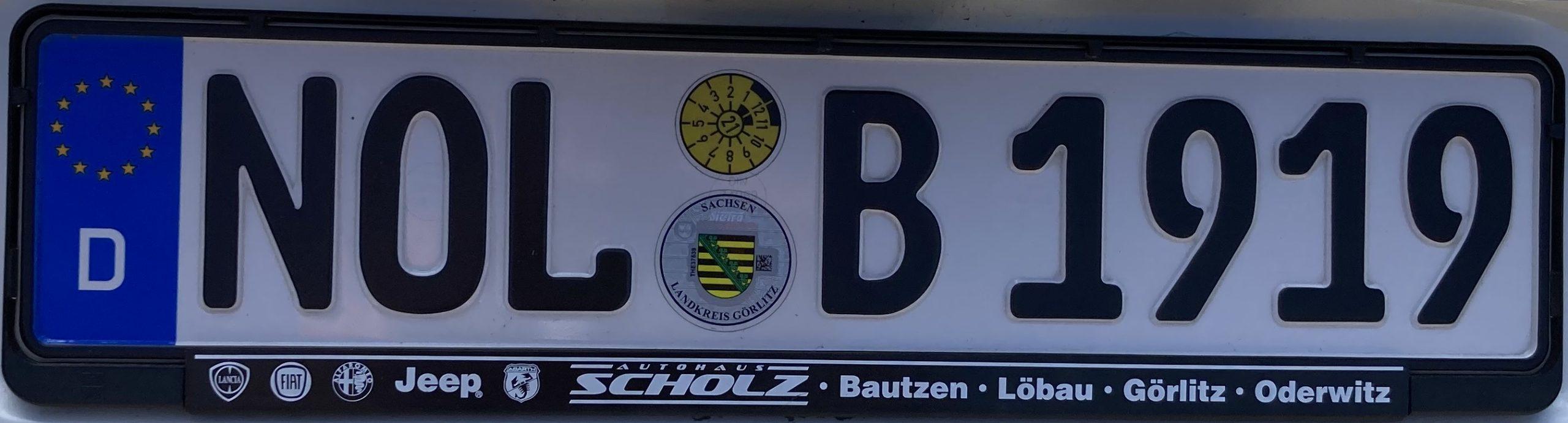 Registrační značky Německo - NOL - Niederschlesischer Oberlausitzkreis, foto: www.podalnici.cz