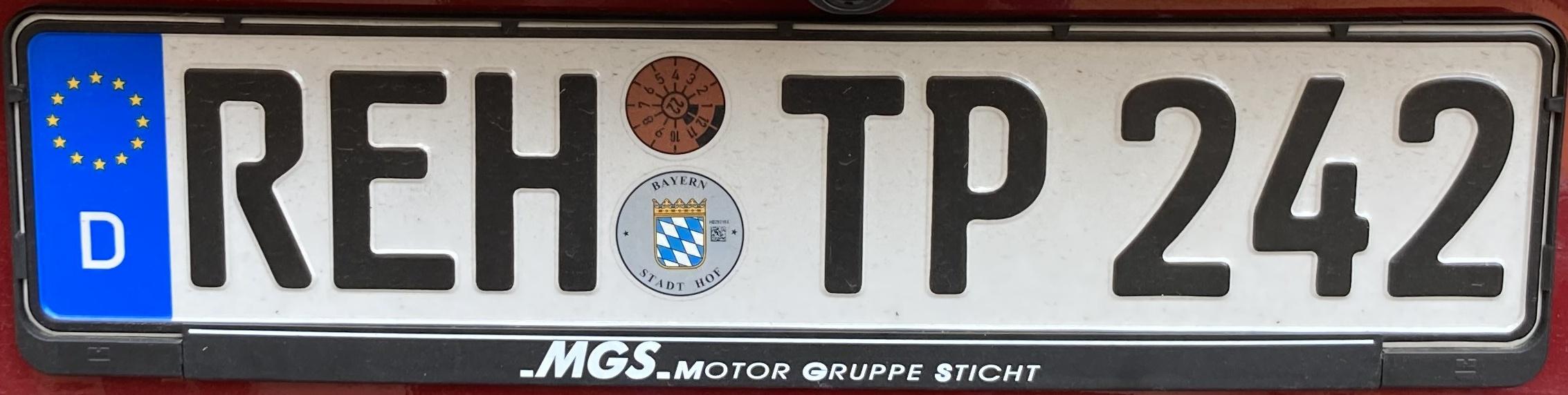 Registrační značky Německo - REH - Rehau, foto: www.podalnici.cz