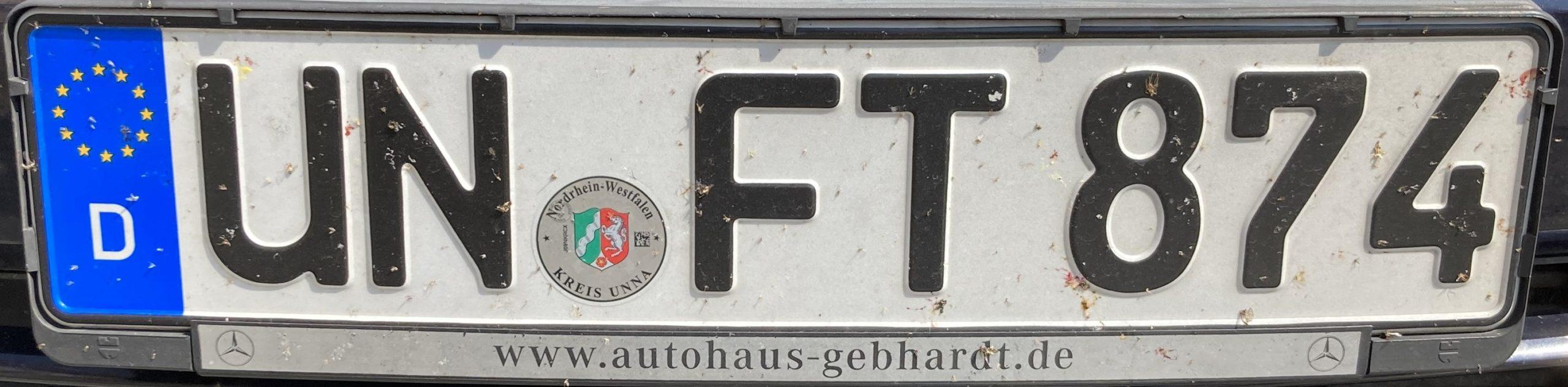 Registrační značky Německo - UN - Unna, foto: www.podalnici.cz