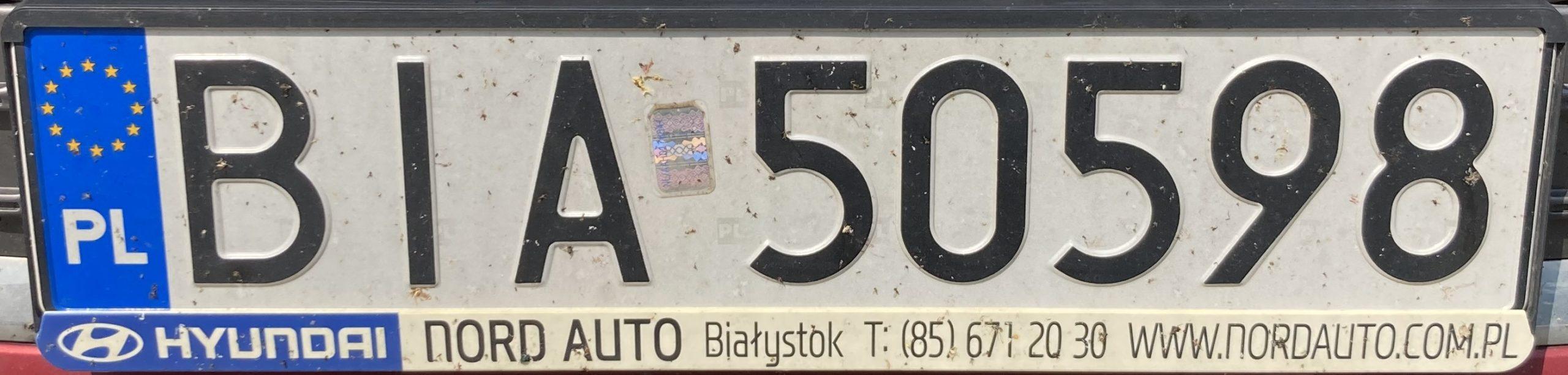Registrační značka Polsko – BIA – Białystok-venkov, foto: www.podalnici.cz