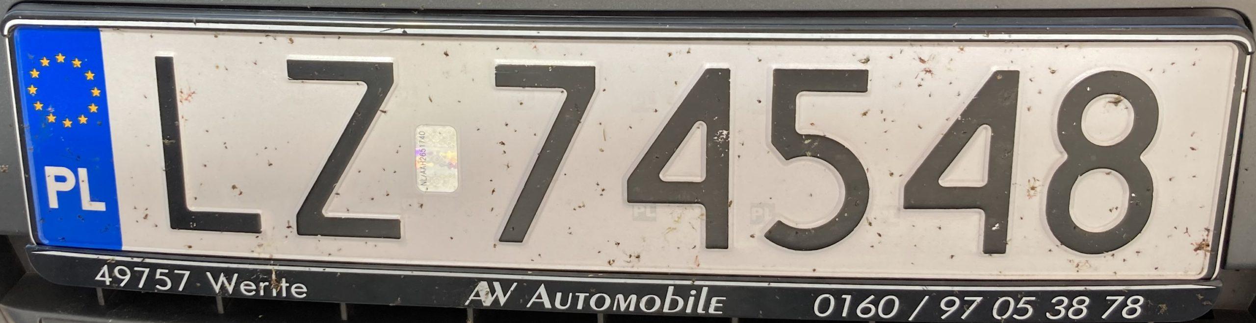 Registrační značka Polsko – LZ – Zamośc, foto: www.podalnici.cz