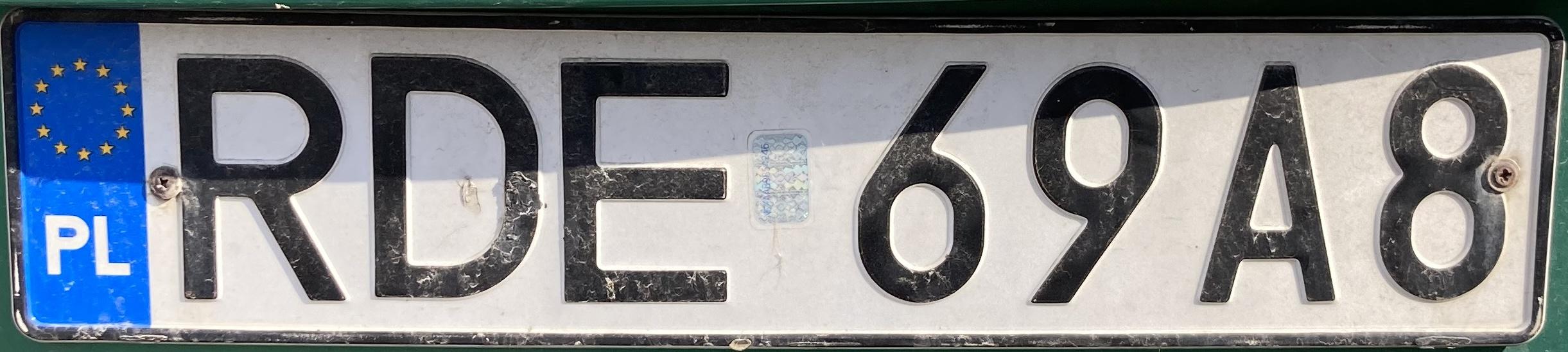 Registrační značka Polsko - RDE - Dębica, foto: www.podalnici.cz
