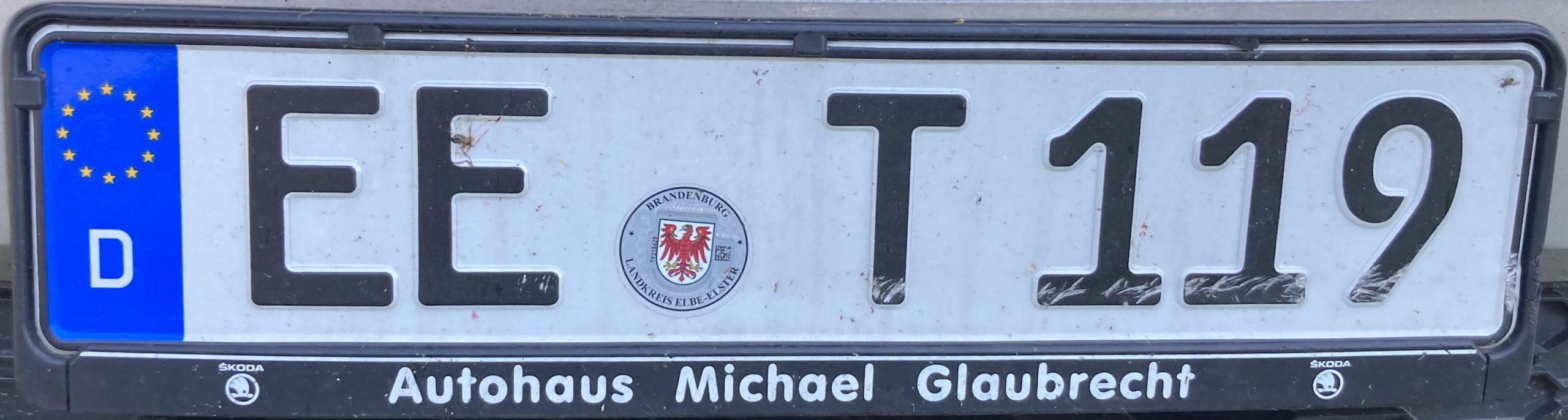 Registrační značka Německo - EE - Elbe-Elster, foto: www.podalnici.cz