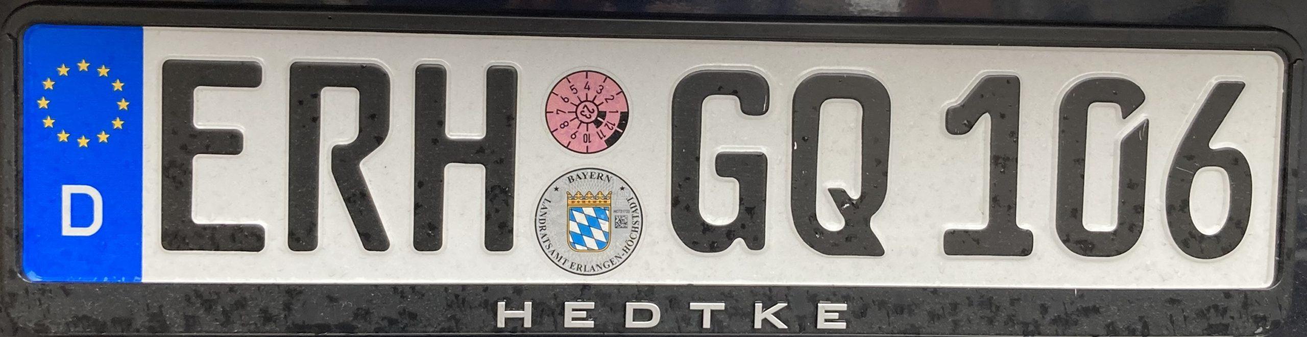 Registrační značka Německo - ERH - Erlangen-Höchstadt, foto: www.podalnici.cz