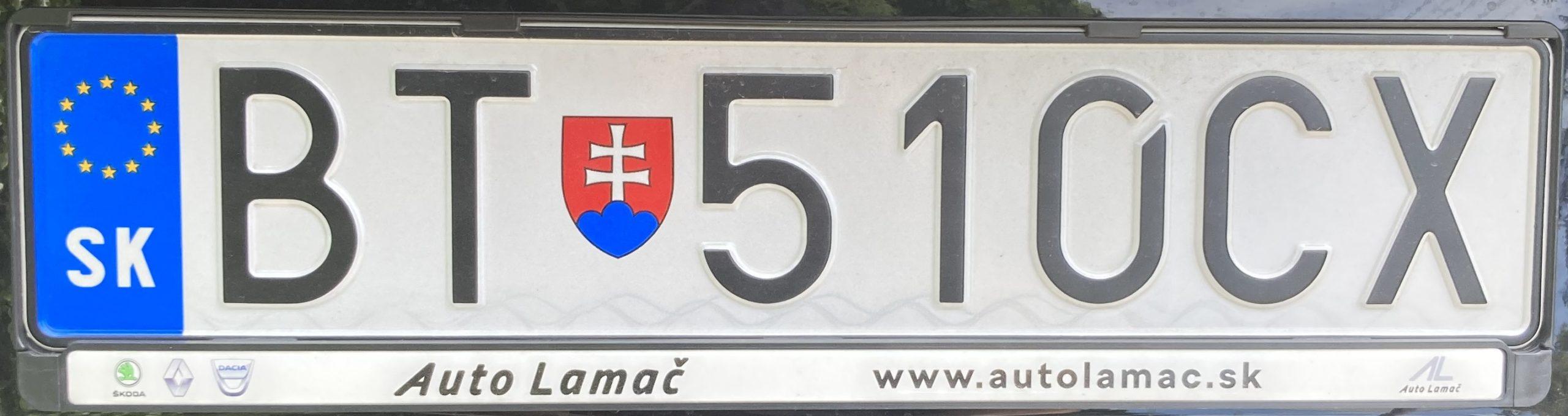 Registrační značka Slovensko - BT - Bratislava, foto: www.podalnici.cz